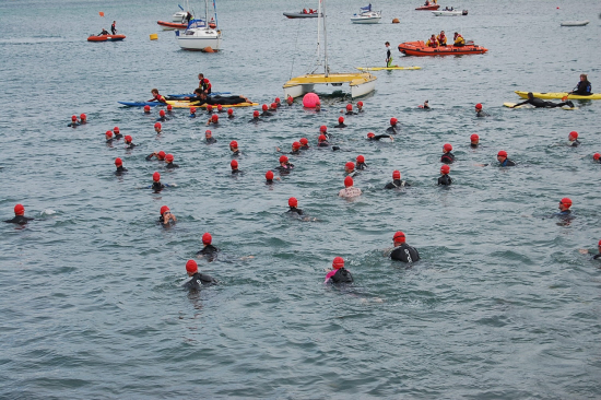 Elite swimmers start Padstow to Rock Swim 2012